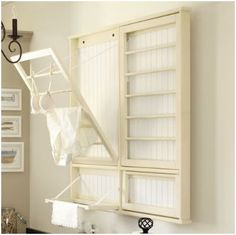 DIY wall drying rack for laundry room
