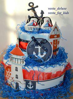 Торт из памперсов  для мальчика  в морском стиле!