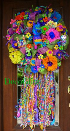 Deco Mesh GREEN FIESTA WREATH by decoglitz on Etsy