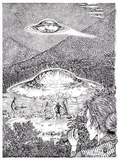 1964年11月25日の深夜,ニューヨーク州のニューベルリンのある丘の中腹に着陸した円盤UFO・空飛ぶ円盤・宇宙人遭遇傑作画集 | 日本のUFO遭遇事件