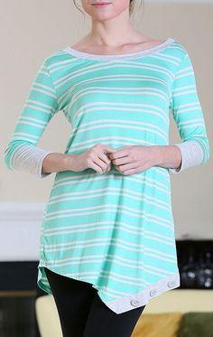 Mint Stripe Asymmetrical Tunic