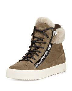 Maylondon Shearling Fur-Lined Sneaker, Moss by Giuseppe Zanotti at Neiman Marcus.