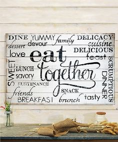 Look what I found on #zulily! Wood 'Eat Together' Sign #zulilyfinds