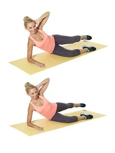 Knee-ins  A. Lie on right side with right elbow under shoulder, as shown, knees bent 90 degrees in front of body with legs stacked. Place left hand behind head and left elbow out to side. Draw left knee toward chest, bringing left elbow toward knee.     B. Extend left leg behind you, as shown, pointing toes and squeezing glutes. Do 15 reps; switch sides and repeat