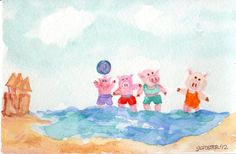 Original  Pigs Playing in the Water at the by SharonFosterArt, $18.00