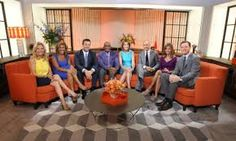 """NBC outlined changes for its morning program, """"Today,"""" which has lost about a quarter of its audience and is stuck in second place behind """"Good Morning America. Stage Design, Set Design, Studio Design, Today Show Cast, Orange Sofa, Morning Show, Custom Window Treatments, New Today, Window Design"""