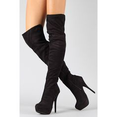 Lorane-41A Suede Stiletto Thigh High Boot (€22) ❤ liked on Polyvore featuring shoes, boots, suede over-the-knee boots, black slouch boots, grey over the knee boots, black thigh-high boots and gray over the knee boots