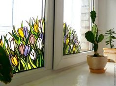 Дизайн окна - Витраж в интерьере