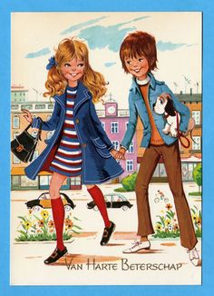 Vintage postcard 70s. Mod boy and girl taking a walk through the city.