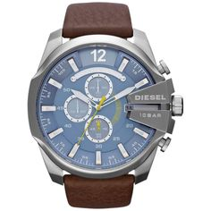 A light blue dial within a stainless steel case defines the sleek look of this men's watch by Diesel. Numerous features such as silver hands and hour markers, chronograph subdials and a date display adorn the face of this stunning timepiece.