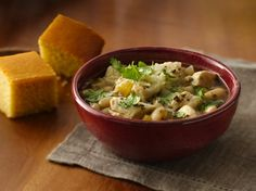 White Chicken Chili - This is a family favorite.  I add a small bag of frozen shoepeg corn as well.  For toppings I also add extra cilantro, shredded cheese, diced tomatoes, and my husband love the sour cream.