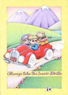 Always Take Scenic Route Roadster See License Plate Magnet Mary Engelbreit Art Mary Engelbreit, Illustrations, Illustration Art, Back To Nature, Childrens Books, Whimsical, Merry, Drawings, Artwork