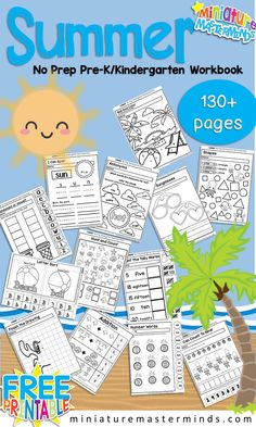 Summer No Prep Preschool and Kindergarten 130 Page Worksheet Book 130 pages of Kindergarten and Preschool worksheets! I was going to wait a little before posting this but decided I would go ahead s… Summer Preschool Themes, Free Preschool, Preschool Learning, Summer Activities, Preschool Activities, Summer Themes, Kindergarten Crafts Summer, Preschool Worksheets Free, Preschool Prep