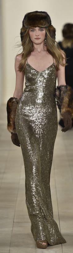 Ralph Lauren's Fall 2015 Collection: Bronze georgette beaded evening dress, available for pre-order on RalphLauren.com