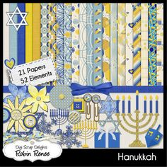 Hanukkah Digital Scrapbook Kit from Robin Renee Digi Scrap Delights