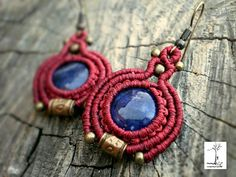 Red ethnic earrings Sodalite macrame jewelry Red gift for