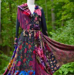 Boho gypsy style sweater coat dress lagenlook Eco by amberstudios
