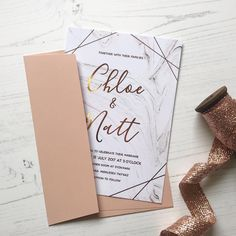 R O S E G O L D + M A R B L E A lovely combo of pretty pink and pale grey hues, complete with rose gold foil. Order a sample rose gold wedding invitation at www.polkadotpaper.com