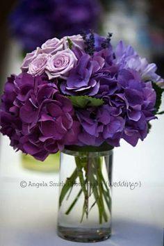 Purple and white hydrangeas reception wedding flowers, wedding ...