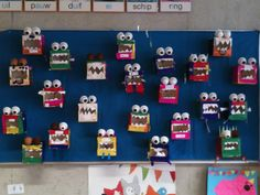 Monstertjes op het prikbord in groep 3. Voor t woord doos! Robot Monster, Monster Art, Diy For Kids, Crafts For Kids, Halloween Arts And Crafts, Spring Projects, Preschool Art, Elementary Art, 3d Shapes