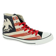 Converse Chuck Taylor All Star Americana Print Hi Shoes, Size: 8.5 D(M) US Mens / 10.5 B(M) US Womens, Color: Black/Fire Brick/Natural