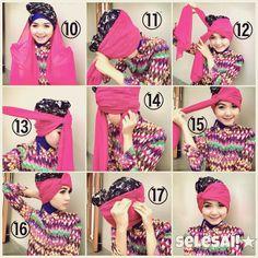 my tutorial hijab Hijab Fashion, Fashion Show, Fashion Design, Tutorial Hijab Pesta, Turban Tutorial, Turban Hijab, Hair Cover, Turban Style, Shalwar Kameez