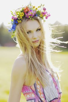 flower hair crowns.  Such a pretty picture. Love her dress too