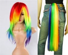 Amazon.com: My Little Pony Rainbow Dash Cosplay Costume Wig Tail Set - Friendship Is Magic: Clothing
