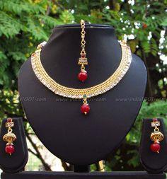 Elegant Pearl and Polki Necklace Set – India1001.com