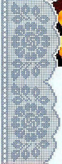 Super Ideas For Crochet Flowers Curtain Filet Crochet Charts, Crochet Borders, Crochet Cross, Crochet Diagram, Knitting Charts, Crochet Home, Thread Crochet, Crochet Motif, Crochet Designs