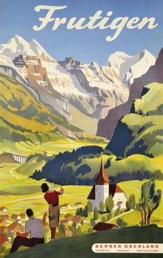 Poster by Louis Koller / Frutigen, Berner Oberland, Schweiz / 1940.