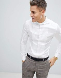 ASOS DESIGN wedding skinny fit sateen shirt with pleat detail in white with double cuff ASOS is part of Shirts Shop the latest ASOS DESIGN wedding skinny fit sateen shirt with pleat detail in whit - Semi Formal Outfits, Formal Men Outfit, Stylish Shirts, Casual Shirts, Indian Men Fashion, Mens Fashion, Fashion Edgy, Lolita Fashion, Fashion Boots