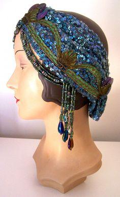 20s Sequined Beaded Flapper Mermaid Headpiece Headband Turban. $175.00, via Etsy.