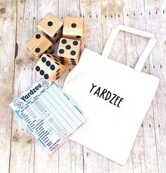 Yardzee Outdoor game large wood dice tailgating Giant dice lawn Games Camping games Memorial Day 6 dice fun bbq games today show Bbq Games, Camping Games, Lawn Games, Yard Yahtzee, Yard Dice, Large Backyard Landscaping, Client Gifts, Pet Odors, Gadgets And Gizmos