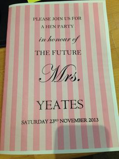 Hen Party Invites (front cover)