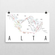 Alta Ski Map Art, Alta UT, Alta Trail Map, Alta Ski Resort Print, Alta Poster, Art, Gift