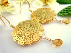 Gold flower cut citrine drop earrings by KBlossoms on Etsy, $40.00