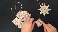(Daily December Day DIY Paper Star Ornament - Teabag Folding, My Crafts and… Origami Christmas Star, Christmas Paper, Diy Christmas Ornaments, Christmas Tree, 3d Paper Snowflakes, Paper Stars, Origami Paper, Diy Paper, Paper Crafts