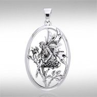 Rose Red Fairy Silver Pendant TPD871 - This inspiring fairy has the added charm of nature.