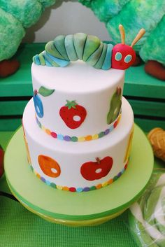 Incredible cake at a Very Hungry Caterpillar birthday party! See more party ideas at CatchMyParty.com!