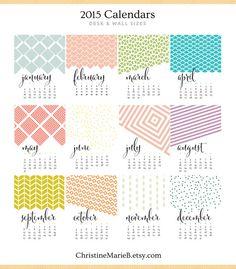 Etsy の 2015 Monthly Wall Calendar Bold Modern by ChristineMarieB