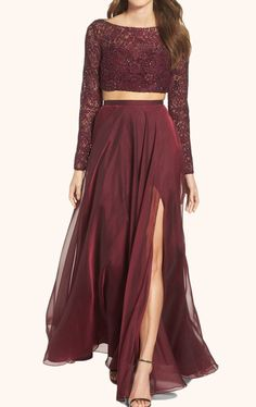 67953be6496ba3 MACloth Two Piece Long Sleeves Lace Prom Gown Burgundy Formal Dress Red  Lace Gown