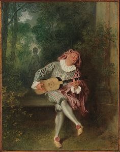 Antoine Watteau (French, 1684–1721). Mezzetin, ca. 1718–20. The Metropolitan Museum of Art, New York. Munsey Fund, 1934 (34.138) | Mezzetin, a stock comic character of the Italian commedia dell'arte, became an established performer on the Paris stage. #dance #paris