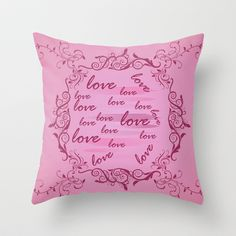Floral Love Throw Pillow by refreshdesign