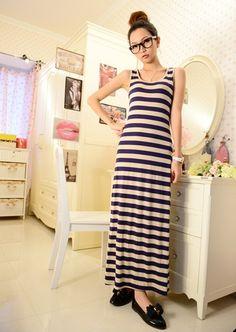 Blue Stripe Sleeveless Scoop Women Long Dress Cotton One Size @WH0319bl