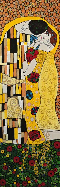 The Kiss inspired art by Gustav Klimt Gustav Klimt, Klimt Art, Famous Modern Art, The Kiss, Frida Art, Quilt Modernen, Silhouette Painting, Famous Artists, Art Sketchbook