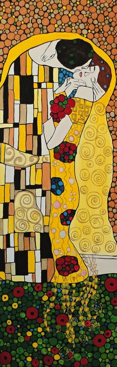"""Inspired by my favorite artist Gustav Klimt. My version of """"The Kiss"""" on a 12''x36''x.75'' framed gallery wrapped canvas. Visit me on my website at www.olynukartanddesign.com"""