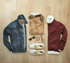 outfit grid Color of the day: burgundy Jacket: Gap Chinos: 484 Sweater: Topman Shirt: Grayson Griffin Shoes: Vans for Belt: Todd Snyder Wallet: J. Casual Wear, Casual Outfits, Men Casual, Mode Man, Fashion Network, Herren Outfit, Outfit Grid, Mode Masculine, Mode Outfits