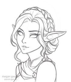 megantron on – Art Sketches Elf Drawings, Fantasy Drawings, Pencil Art Drawings, Art Drawings Sketches, Sketch Art, Fantasy Art, Images Of Drawings, Sketches Of Girls, Cute Drawings Of Girls