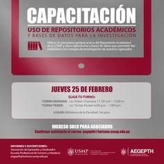 #Capacitación | Haz que tu investigación tenga una mayor visibilidad y participa en la capacitación sobre el uso de Repositorios Académicos y Bases de datos.
